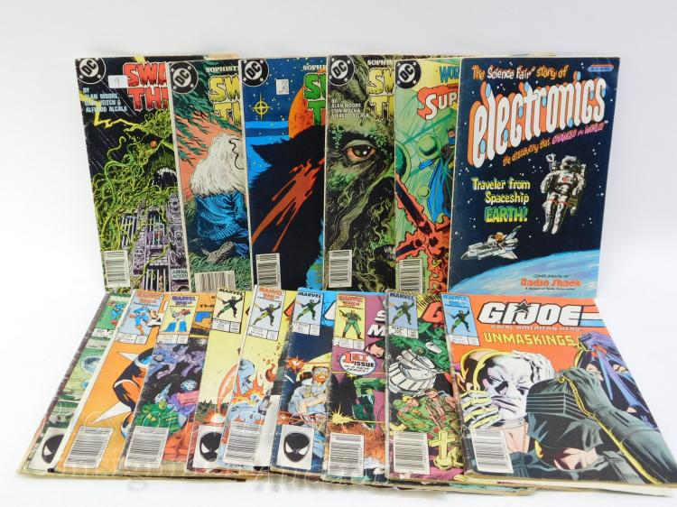 Lot of 16 DC and Marvel Comic Books Including Swamp Thing and GI Joe