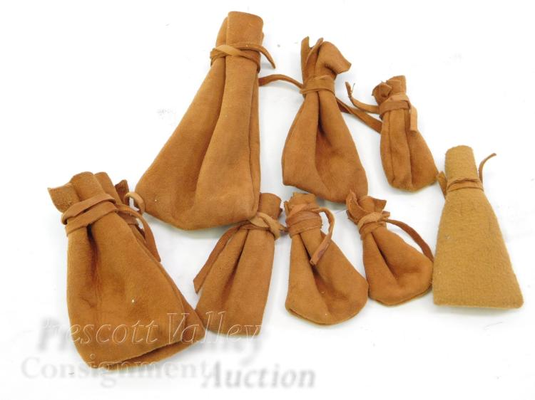 Lot of 9 Stitched Leather Pouches