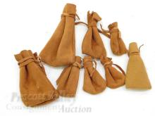 Lot 11: Lot of 9 Stitched Leather Pouches