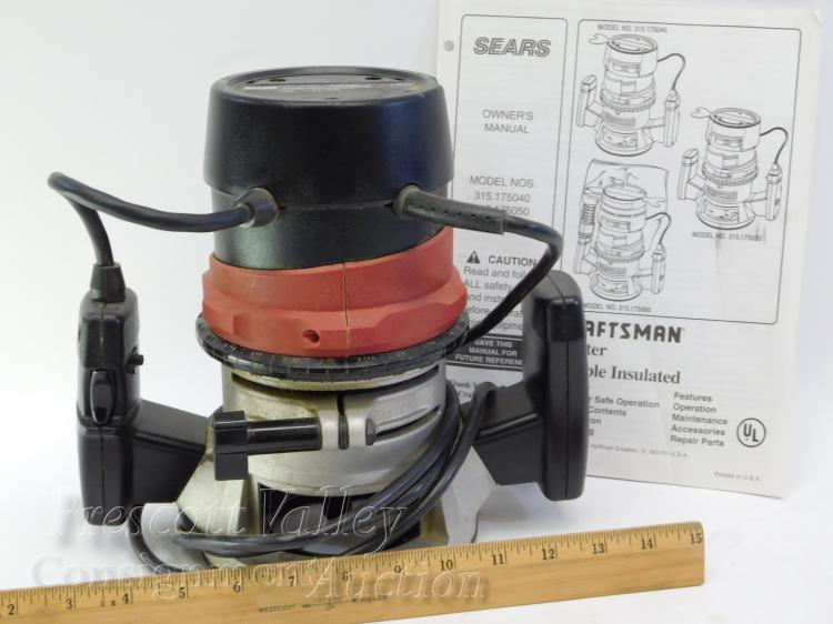 Lot 24: Craftsman Model 315.175040 Double Insulated Router with Instructions
