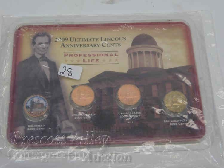 Littleton 2009 Ultimate Lincoln Anniversary Cents Professional Life Set Including Gold Plated and Colorized