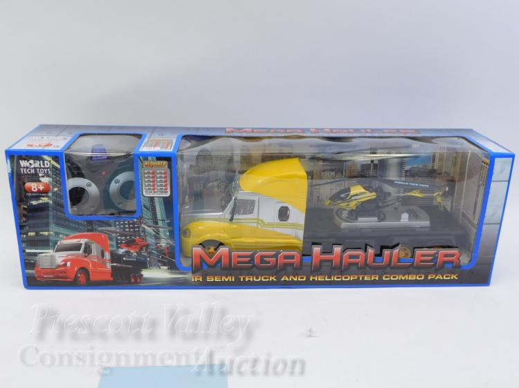 Mega Hauler Unused IR Semi Truck and Helicopter Combo Pack Remote Controlled Toys