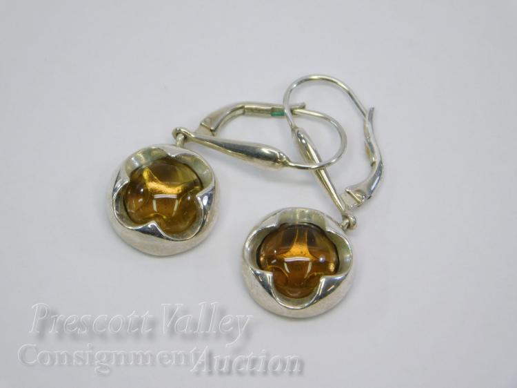 7.4 Gram Sterling Silver and Amber Lever Back Dangle Earrings Signed ER