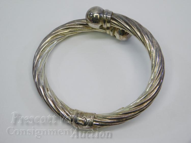 30.4 Gram Sterling Silver Twisted Cable Hinged Bangle Bracelet