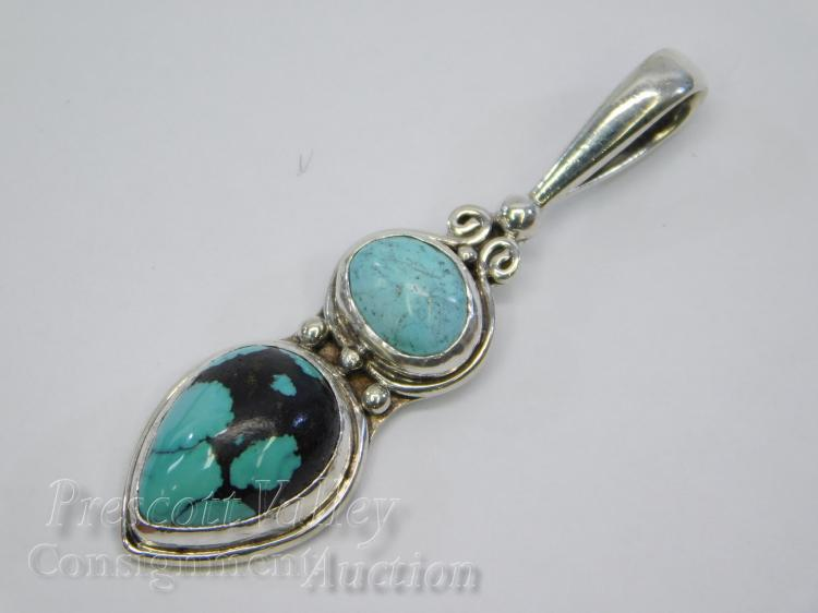 8.1 Gram Sajen Sterling Silver and Spider Web Turquoise  Pendant