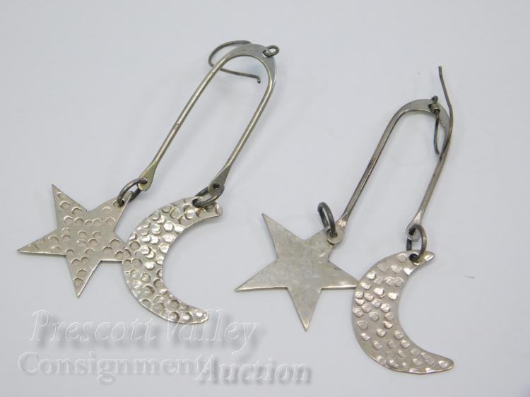 7.2 Gram Sterling Silver Moon and Star Dangle Earrings