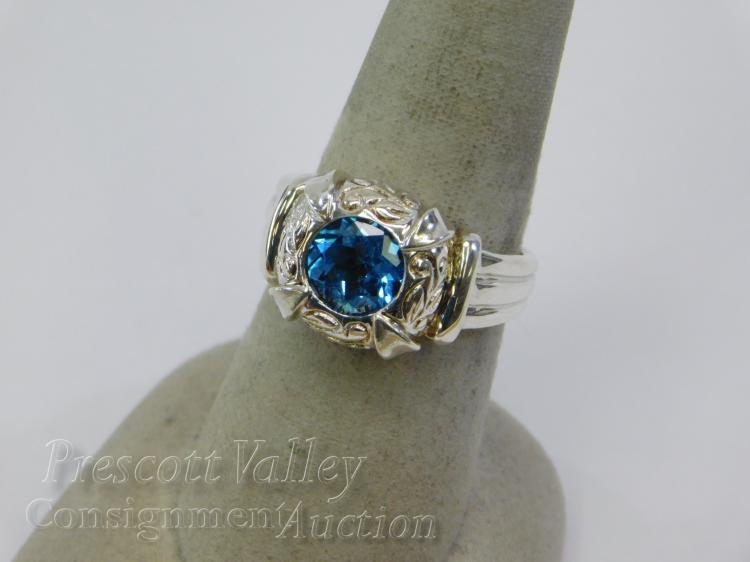 Sterling Silver and Blue Topaz Ring Sz 7.25