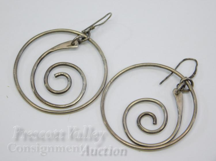 9.8 Gram Sterling Silver Dangling Hoop and Swirl Earrings