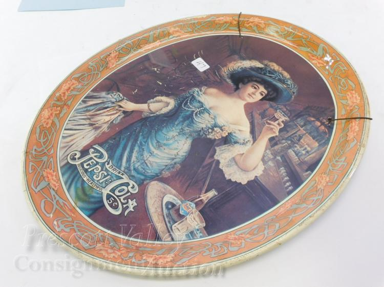 Vintage Victorian Woman Drink Pepsi Cola Delicious Healthful Tin Litho Tray