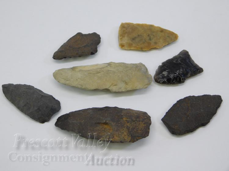 Lot of 7 Arizona Found Hand Knapped Native American Indian Arrowheads