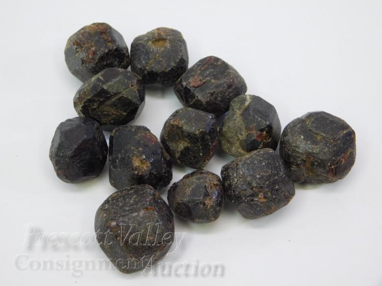 Lot of 12 Large Cut Pieces of Garnet Crystal