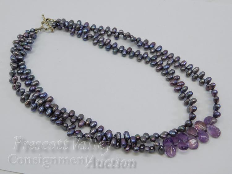 "Sterling Silver Polished Oval Shaped Pearl Bead and Amethyst 17.5"" Multi Strand Necklace"