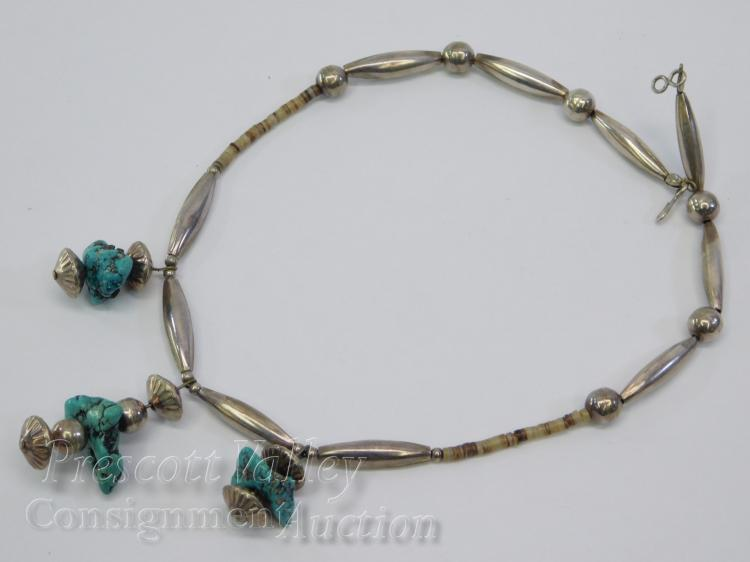 "Navajo Sterling Silver Shell and Turquoise Nugget 17"" Bead Necklace"