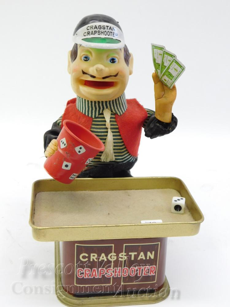 Vintage Cragstan Crapshooter Battery Operated Dice Rolling Toy