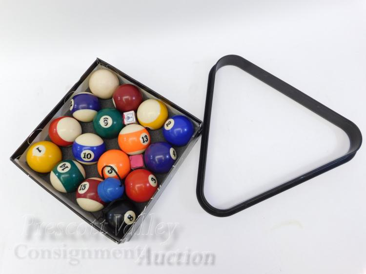 Set of Pool Billiard Balls Triangle and Chalk