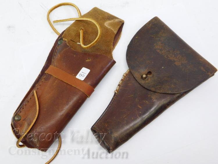 Lot of 2 Vintage Leather Pistol  Gun Holsters