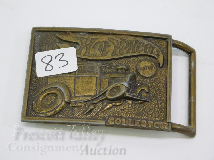 Vintage 1978 Mattel Inc Hot Wheels Collector Brass Hot Rod Belt Buckle