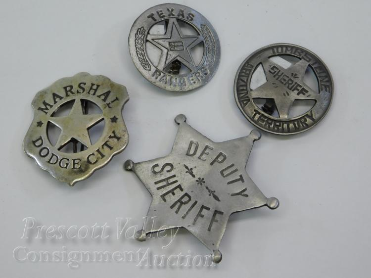 Lot of 4 Old West Style Dodge City Marshall Tombstone Sheriff Texas Ranger Badges