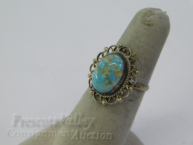 Sterling Silver and Turquoise Ring Sz 6