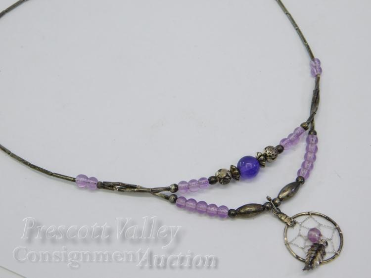 "Liquid Silver and Amethyst Bead Dreamcatcher 18"" Necklace"