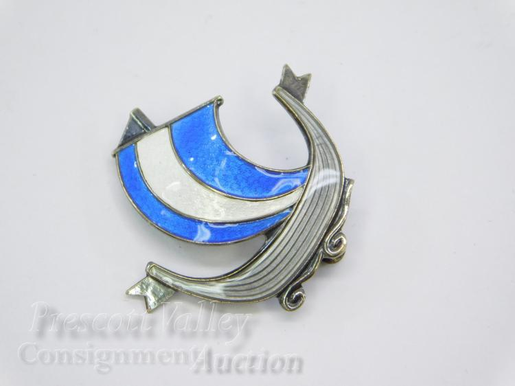 Vintage Aksel Holmsen Norway Sterling Silver and Enamel Viking Ship Pin Brooch