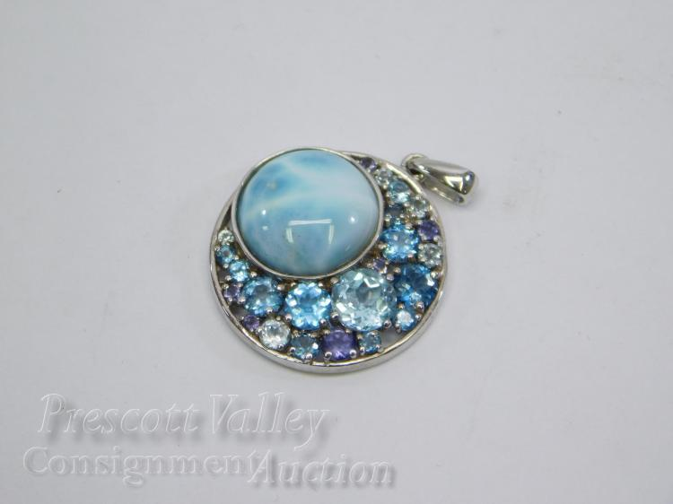 Sterling Silver Larimar Blue Topaz and Amethyst Pendant