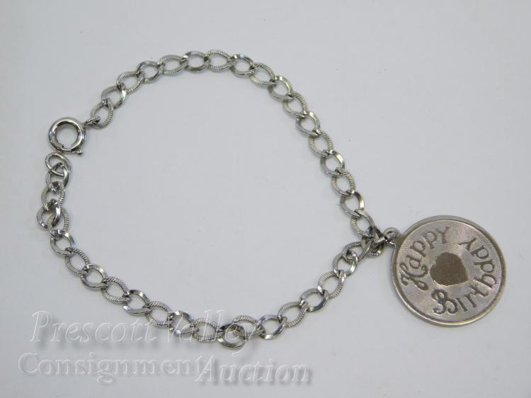 "Danecraft Sterling Silver Etched Happy Birthday Charm on 6.75"" Link Bracelet"