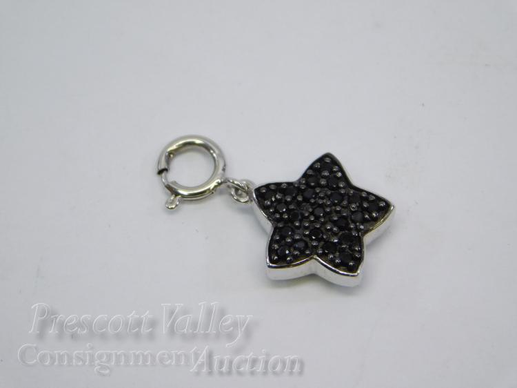 Sterling Silver Black Spinel and Morganite Star Charm Pendant