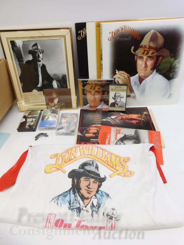Don Williams Lot of Concert Shirt Records CD Tapes Program Signed Picture and Ticket