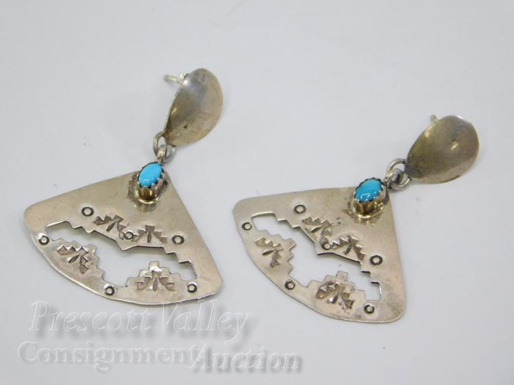 Hand Stamped Sterling Silver and Turquoise Fan Dangle Earrings