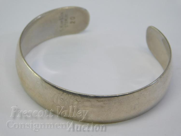 15.2 Gram S. Kirk & Son Sterling Silver Monogrammed Cuff Bracelet Marked 20