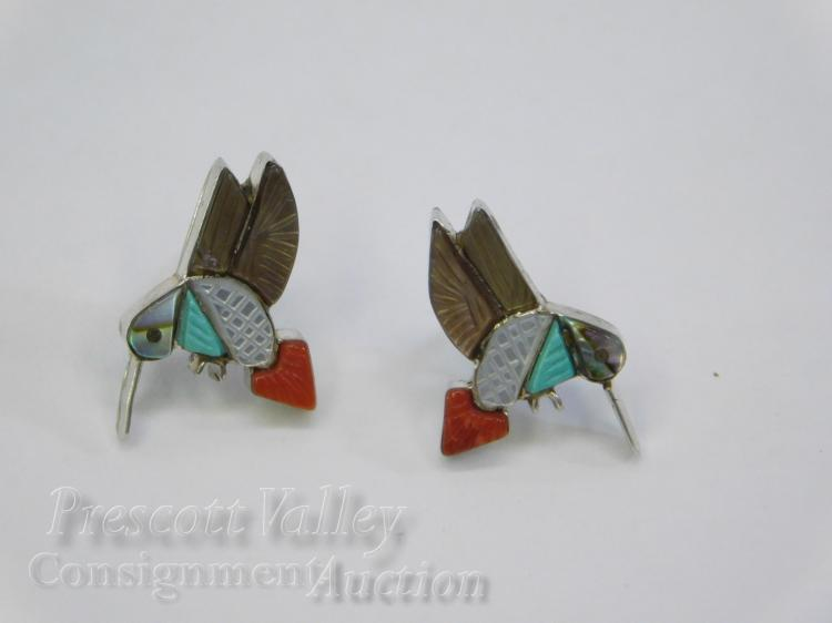 Sterling Silver Inlaid Turquoise Coral MOP and Abalone Hummingbird Post Earrings