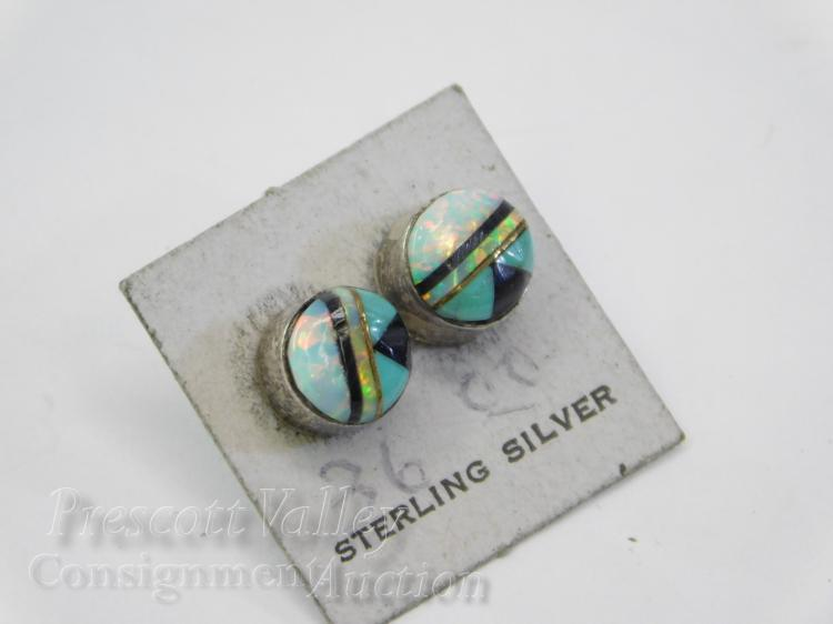 Sterling Silver Inlaid Jet Turquoise and Opal Post Earrings