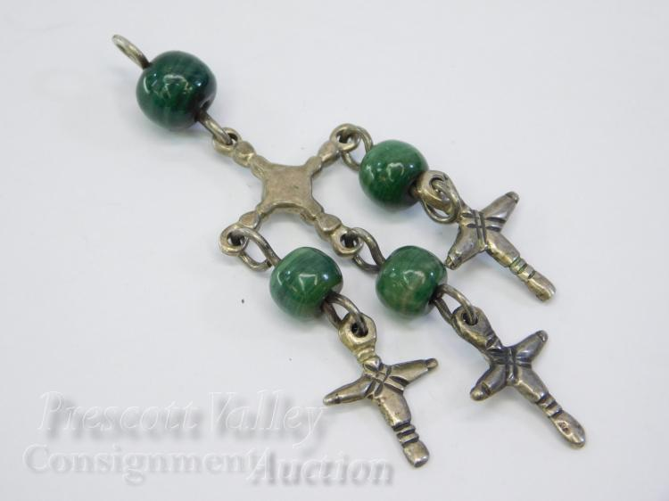 13 Gram Mexican Sterling Silver and Polished Jasper Bead Cross Pendant Signed CET