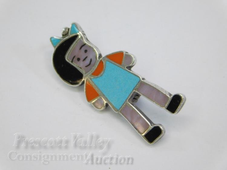Sterling Silver inlaid Turquoise Coral Jet Enamel Figural Child Pin Brooch Pendant