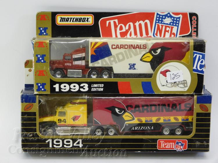 Matchbox 1993 and 1994 Arizona Cardinals NFL Tractor Trailers in Packages
