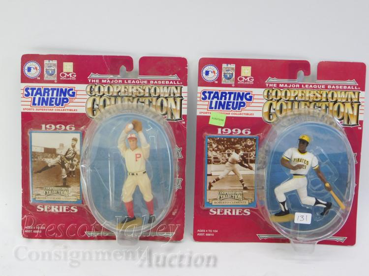 Lot of 2 1996 Cooperstown Collection Roberto Clemente and Grover Cleveland Alexander MLB Figurines