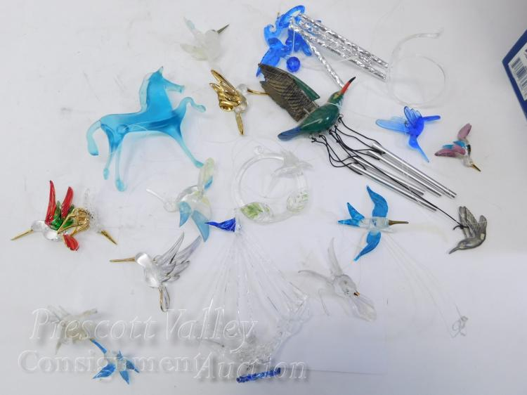 Lot of Spun Glass Ornaments or Window Hangers Including Hummingbirds Sailboat and Horse