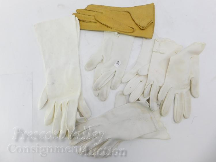 Lot of Vintage White and Leather Ladys Gloves