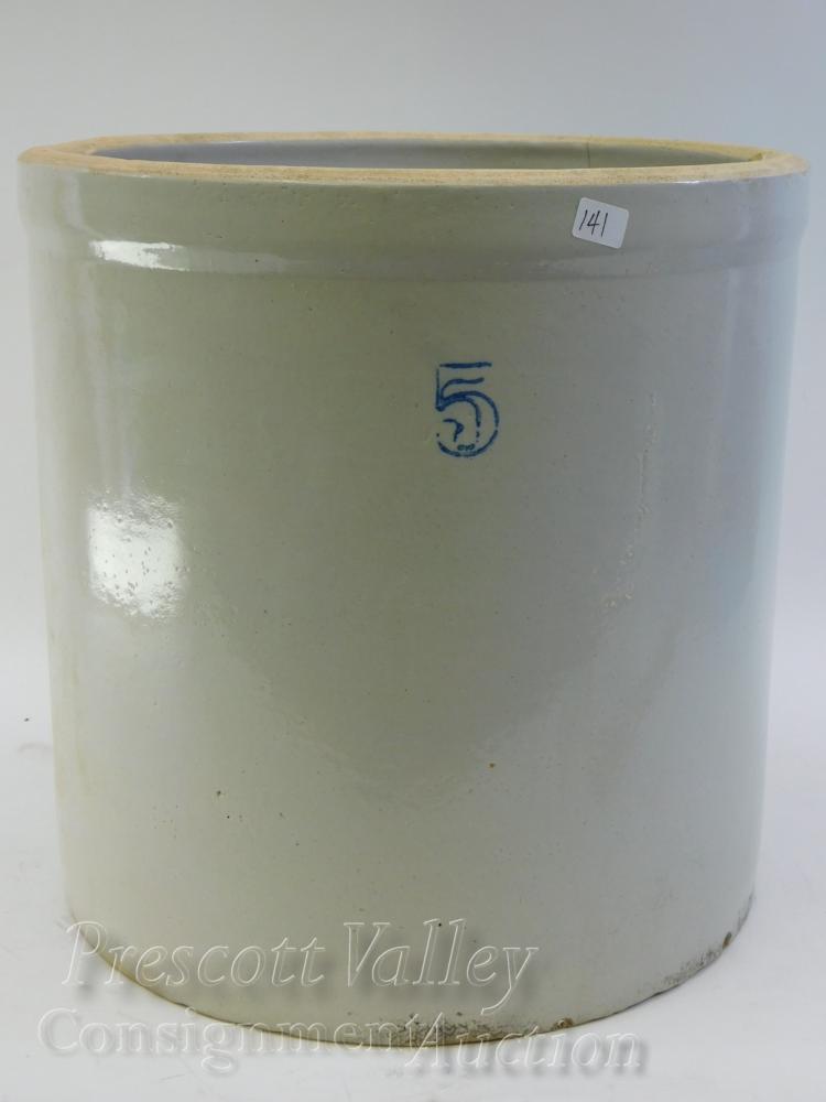 Vintage 5 Gallon Stoneware Crock