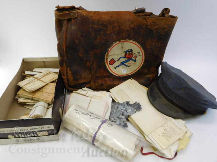 Vintage Leather Mr Zip Post Office Bag Feldman Bros Cap and Assorted Ephemera