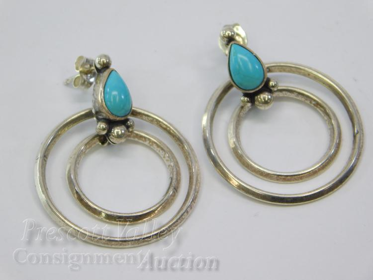 8.5 Gram Sterling Silver and Turquoise Dangling Hoop Post Earrings