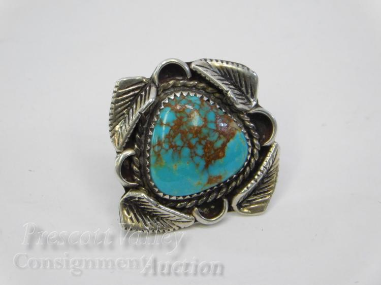 7.2 Gram Navajo J. Velasquez Signed Sterling Silver and Turquoise Tie Tack Lapel Pin