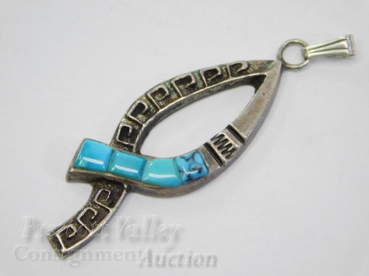 Sterling Silver and Turquoise Ribbon Pendant