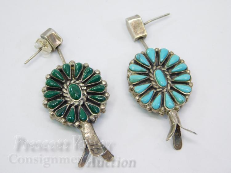 16.1 Gram Navajo Sterling Silver and Malachite Squash Blossom Double Sided Spinning Post Dangle Earrings