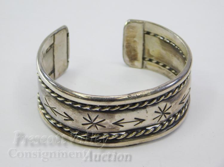 46.1 Gram Vintage Navajo Hand Stamped Rope Braid Sterling Silver Cuff Bracelet