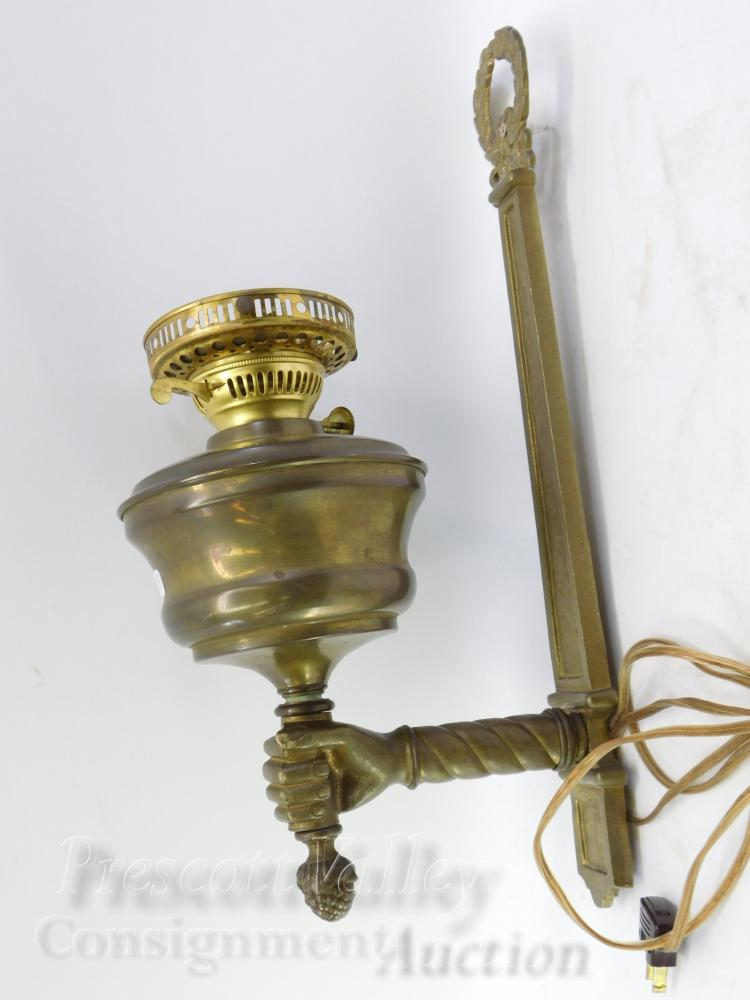Vintage Brass Wall Hanging Hand Holding Electrified Kerosene Lamp Wall Sconce