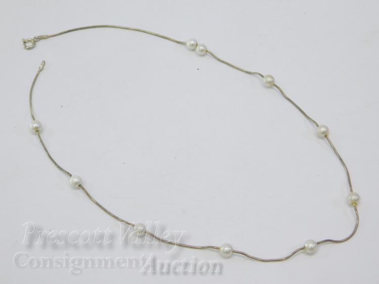 "Sterling Silver Snake Chain and Pearl Bead 16"" Necklace"