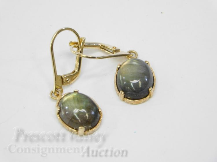 Gold Washed Sterling Silver and Labradorite Lever Back Dangle Earrings Signed OT