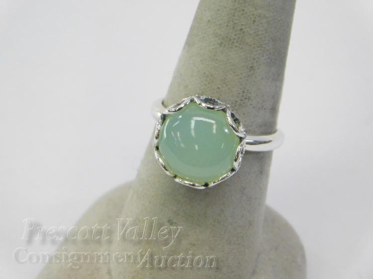 Sterling Silver Jade or Green Quartz and Marcasite Ring Sz 7.5